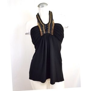 Cache Size XS Black Embellished Halter Top